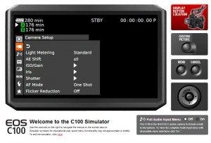 Canon C100 Menu Simulator Menu Screen Texas Media Systems
