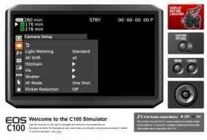 Canon C100 Menu Simulator Menu Screen Texas Media Systems