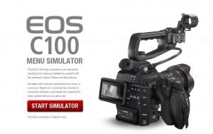 Canon C100 Menu Simulator Start Screen Texas Media Systems