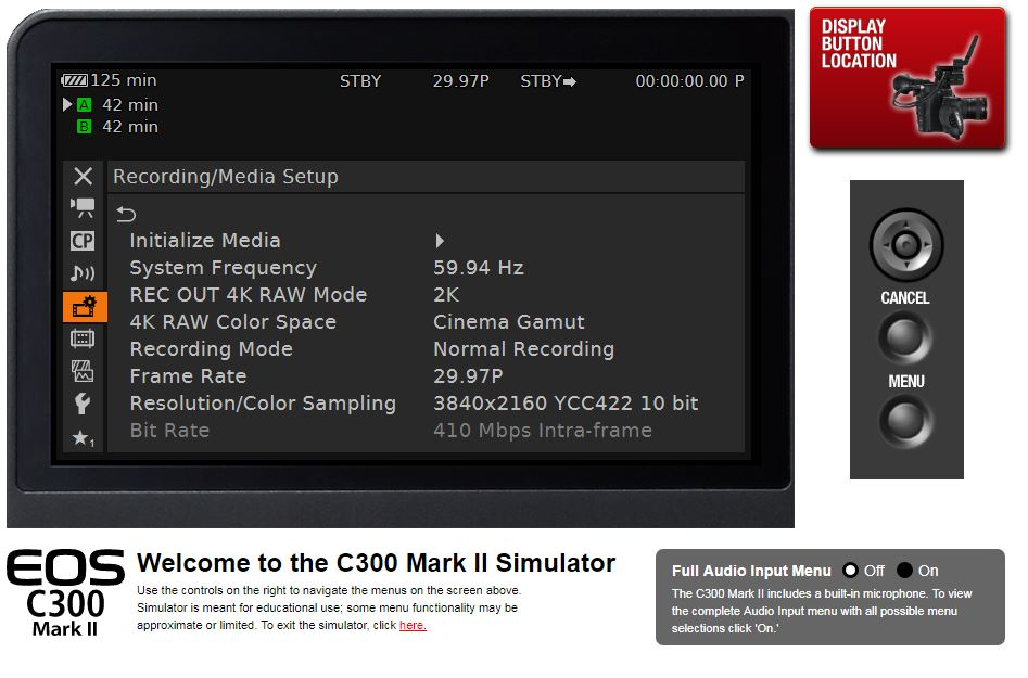 Canon C300 Mark II Menu Simulator Texas Media Systems - Texas Media