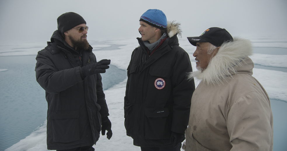 BAFFIN ISLAND, CANADIAN ARCTIC - (From left to right): Leonardo DiCaprio, Enric Sala, National Geographic Explorer-in-Residence, and Jake Awa, Arctic Guide, Pond Inlet. For two years, Leonardo DiCaprio has criss-crossed the planet in his role as UN messenger of Peace on Climate Change. This film, executive produced by Brett Ratner and Martin Scorsese, follows that journey to find both the crisis points and the solutions to this existential threat to human species. The climate change feature documentary 'Before the Flood' airs globally on the National Geographic Channel October 30.