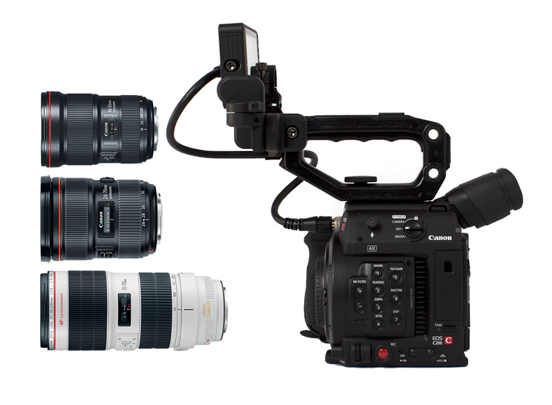 The Canon C200 Triple Lens Kit. Includes the 16-35mm f/2.8L III USM lens, the 24-70mm f/2.8L II USM lens, and the 70-200mm f/2.8L IS II USM lens.